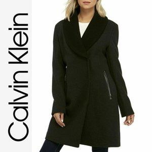 Calvin Klein Shawl Collar Zip Pocket Wool Coat